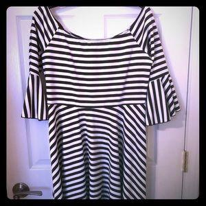 Black & White Bell Sleeve Free People dress